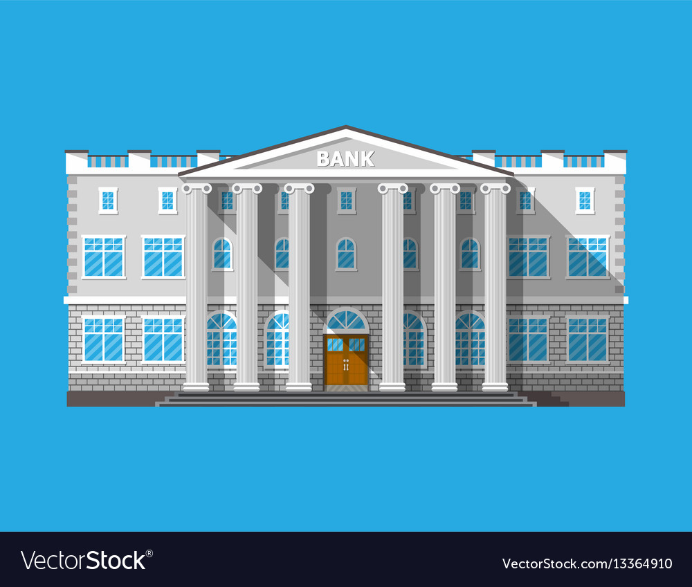 Bank building financial house isolated on blue