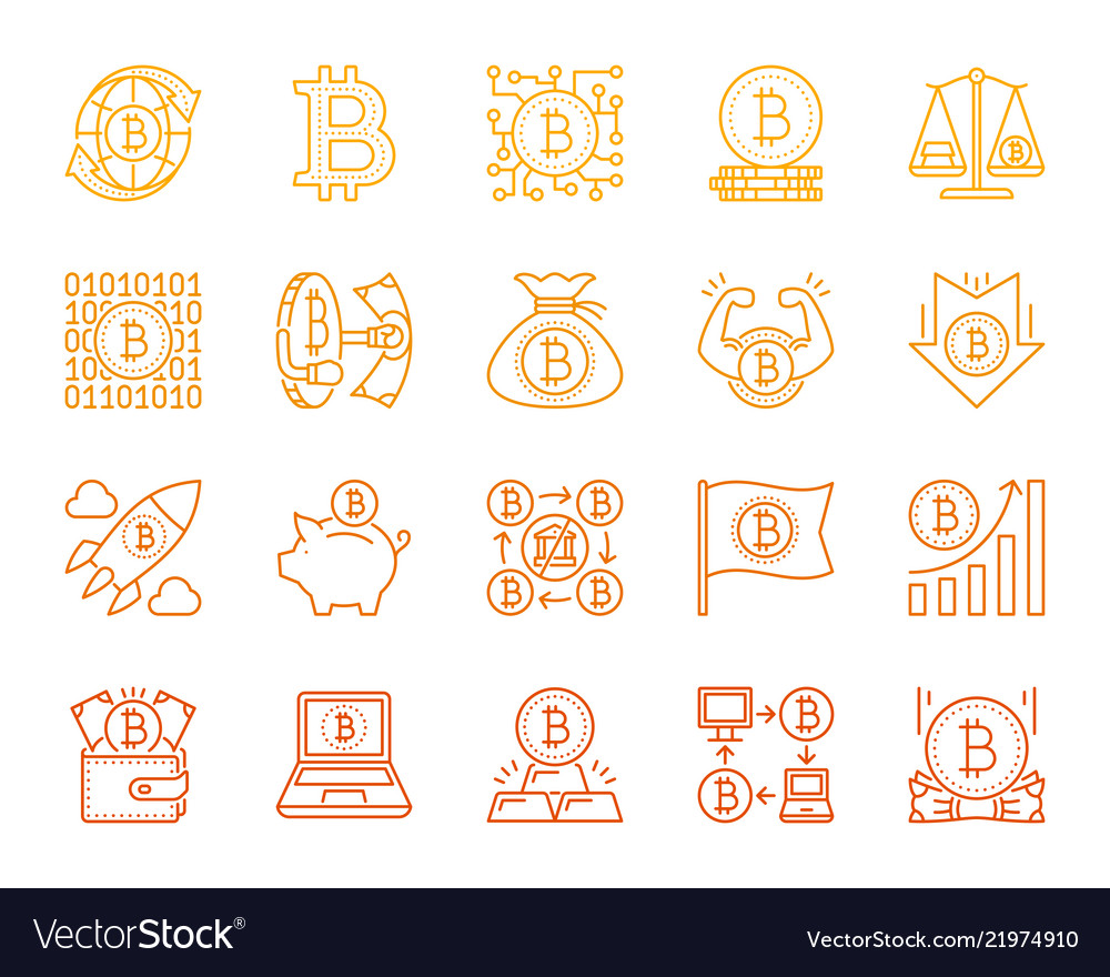 Bitcoin simple color line icons set