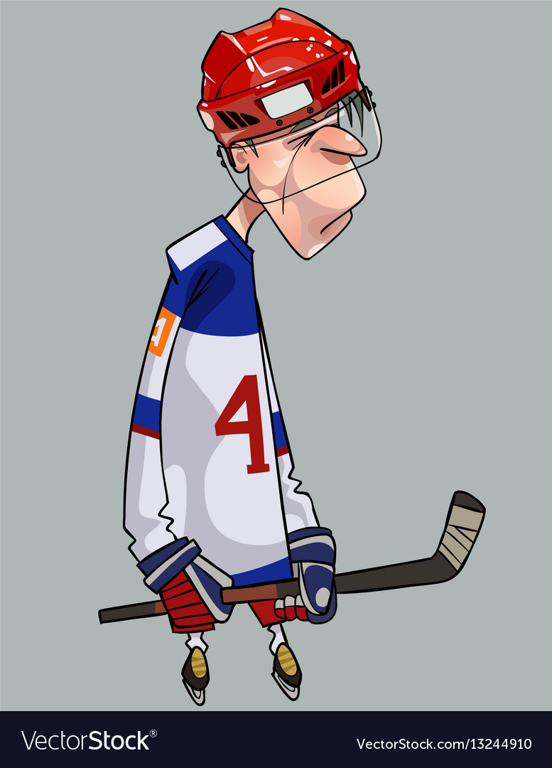 Cartoon Comical Sad Hockey Player With Hockey Vector Image
