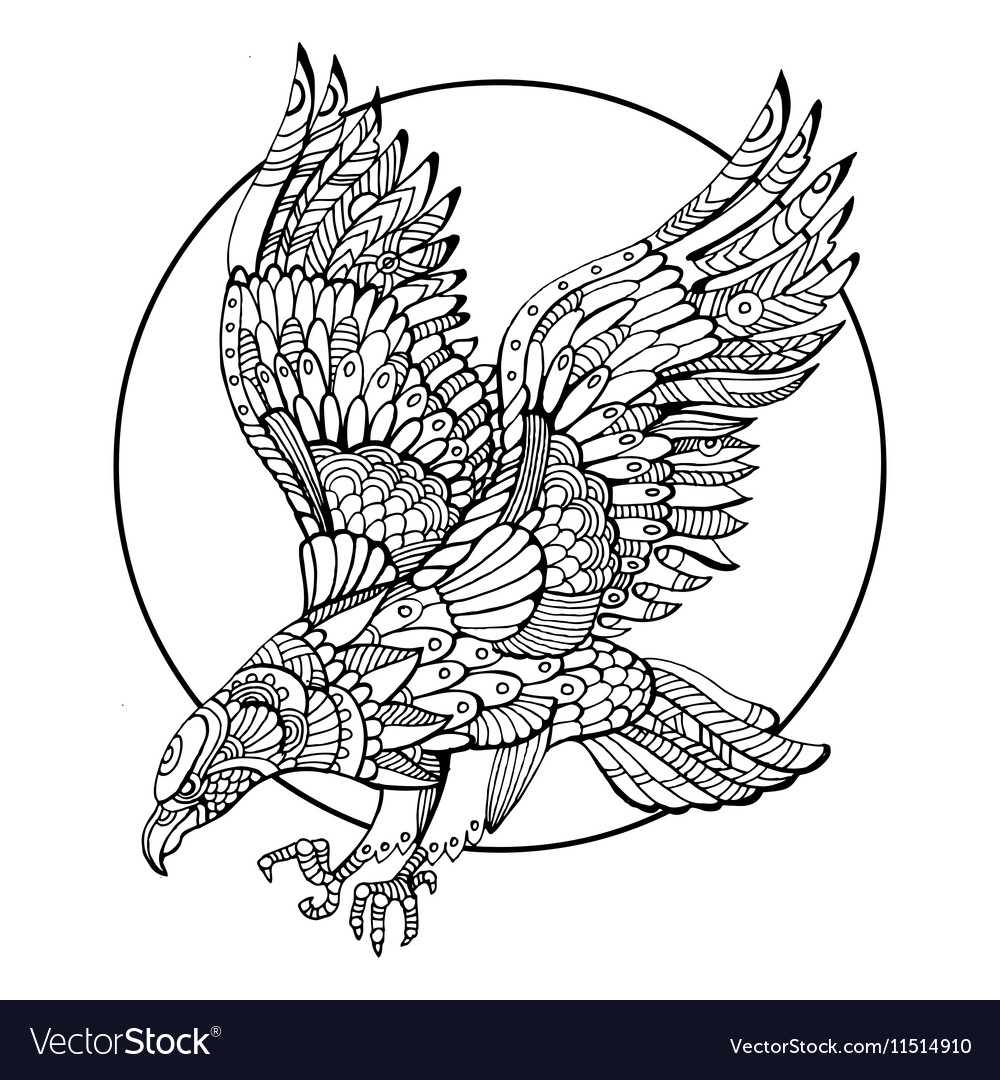 Eagle bird coloring book for adults Royalty Free Vector