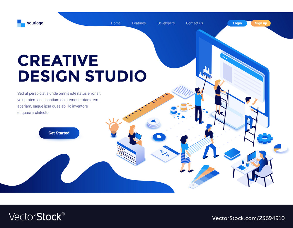 Flat color modern isometric concept - creative