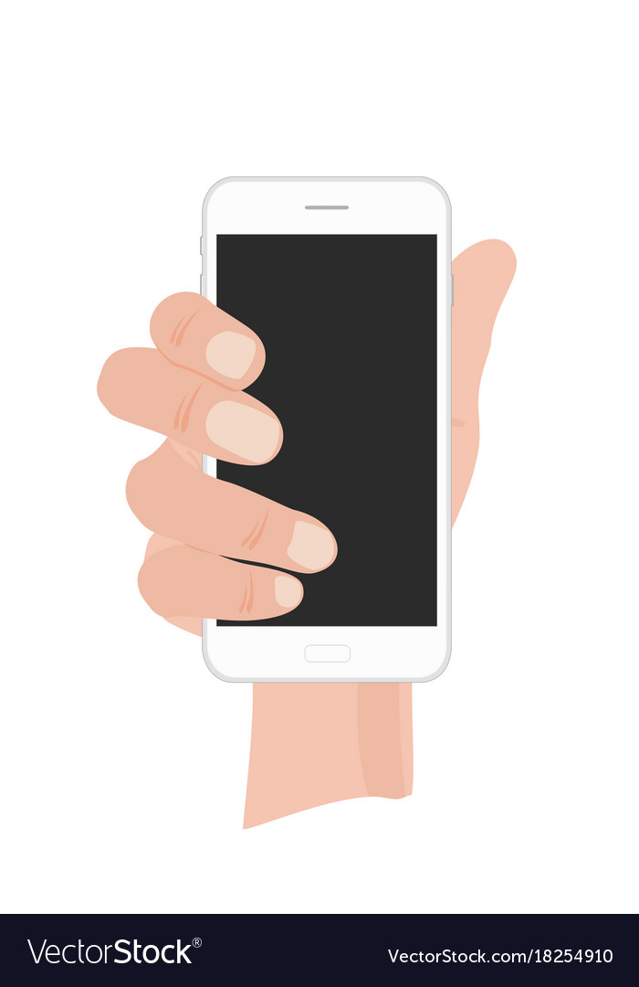 Hand holding white phone on