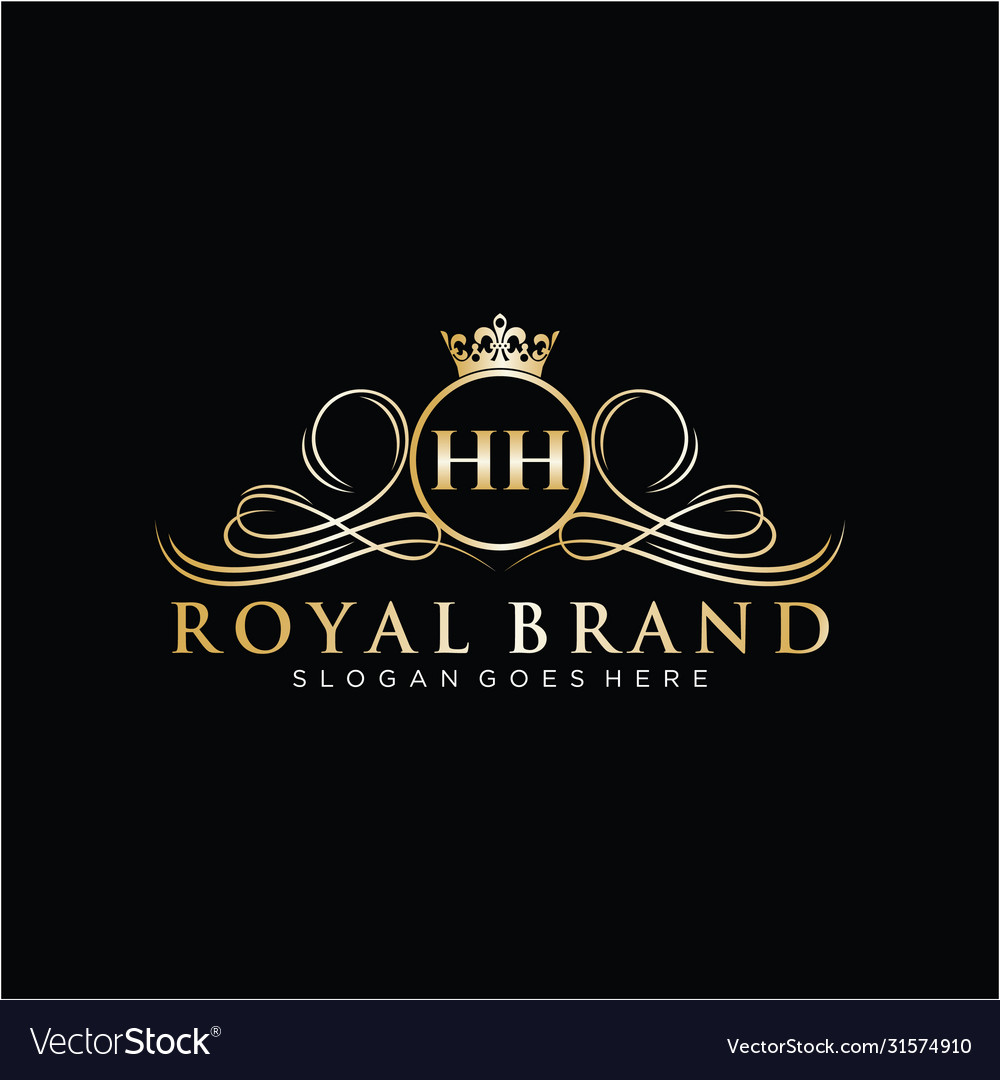 Hh letter initial luxurious brand logo template