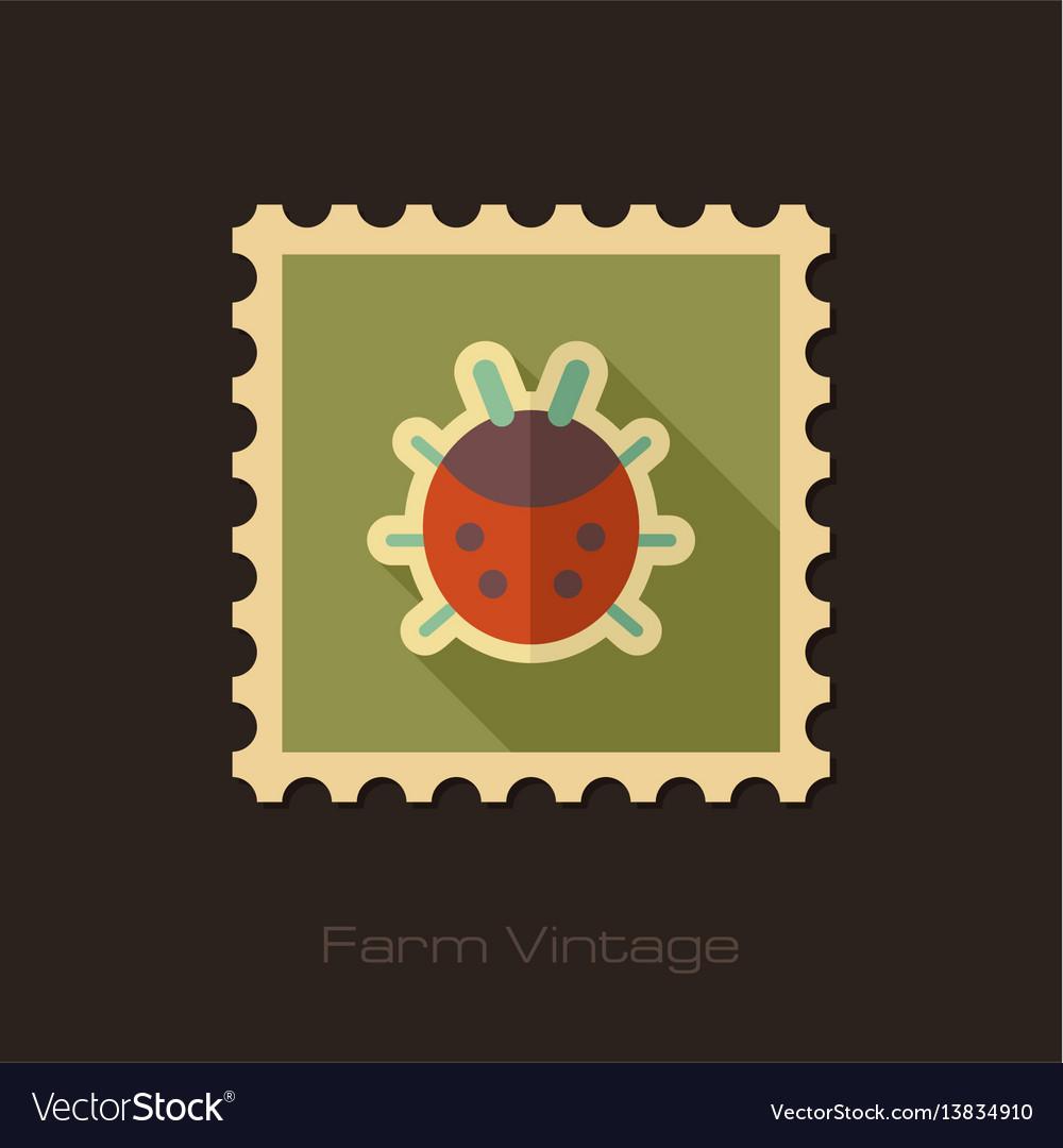 Ladybug Retro Flat Stamp With Long Shadow Vector Image