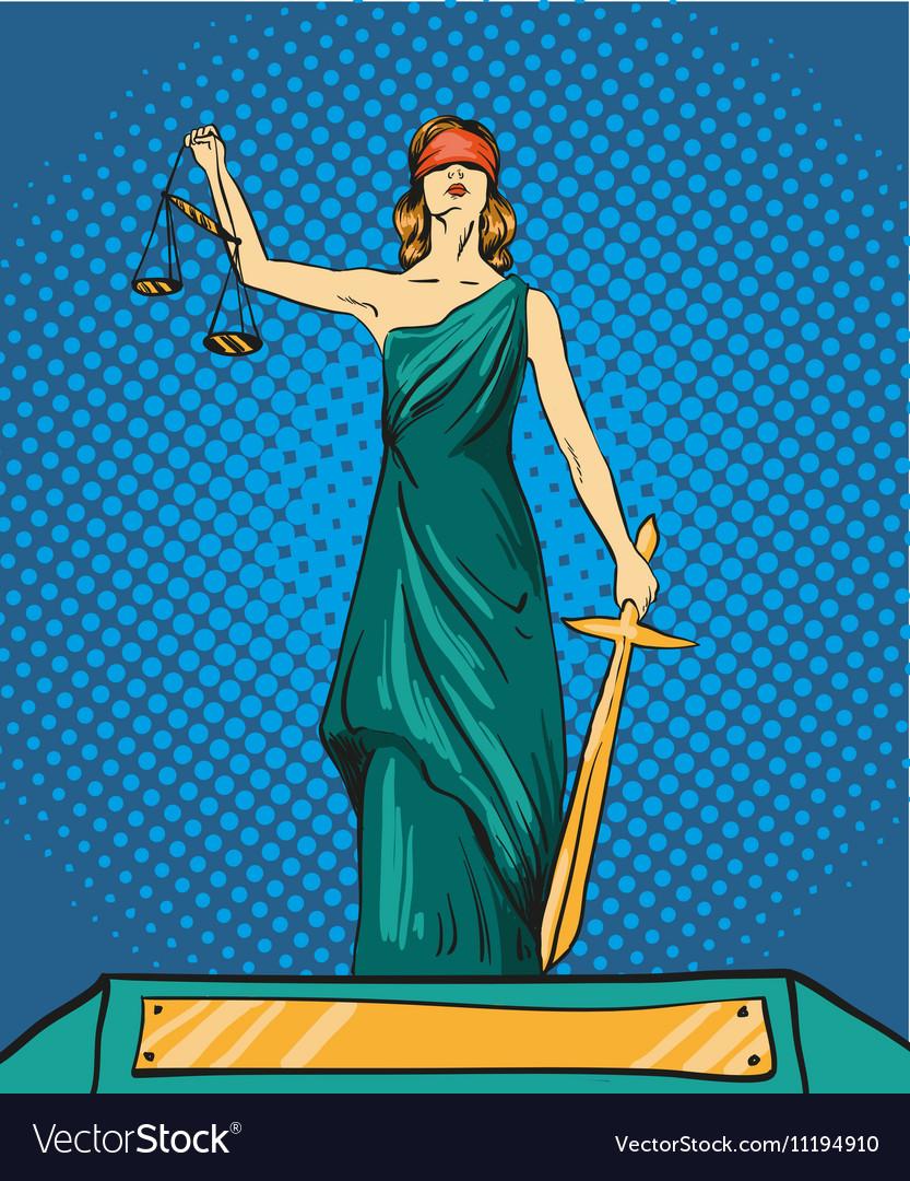 Statue god of justice Themis Femida with balance
