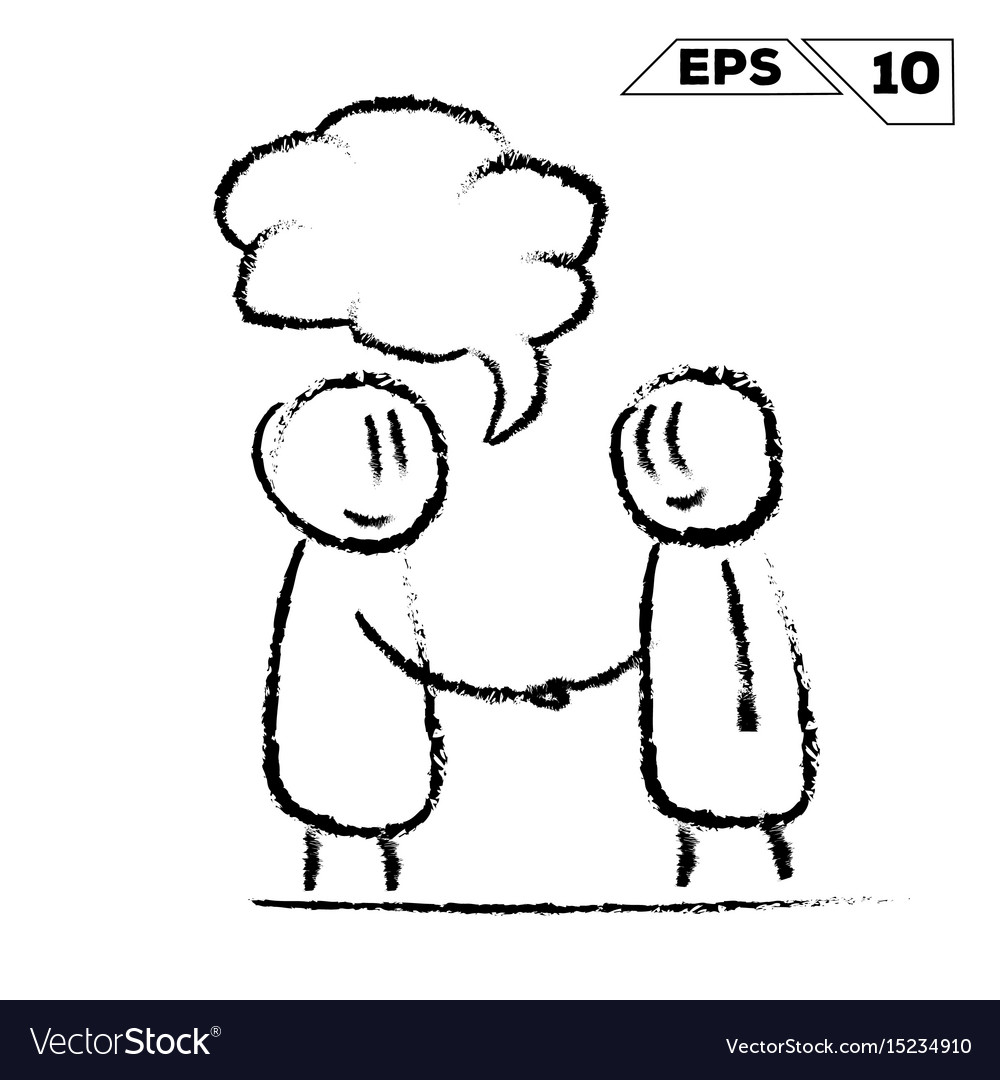 Stick figure handshake 2 man with speak bubble