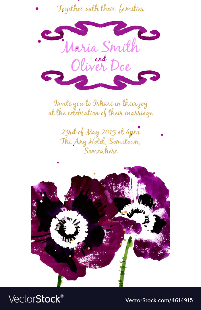 Background with purple watercolor poppies