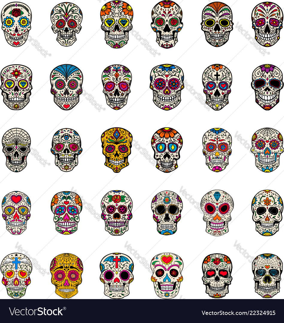 Big set of mexican sugar skulls isolated on white