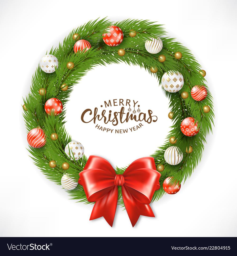 Christmas wreath happy new year greeting card