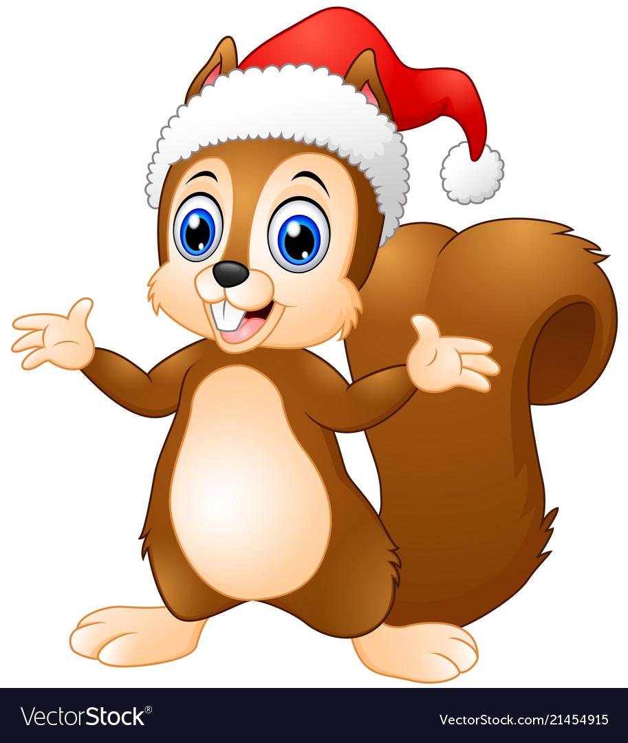832276eb4d285 Cute christmas squirrel cartoon Royalty Free Vector Image