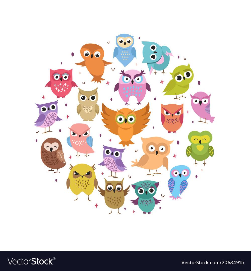 Cute owls round banner cartoon funny forest birds