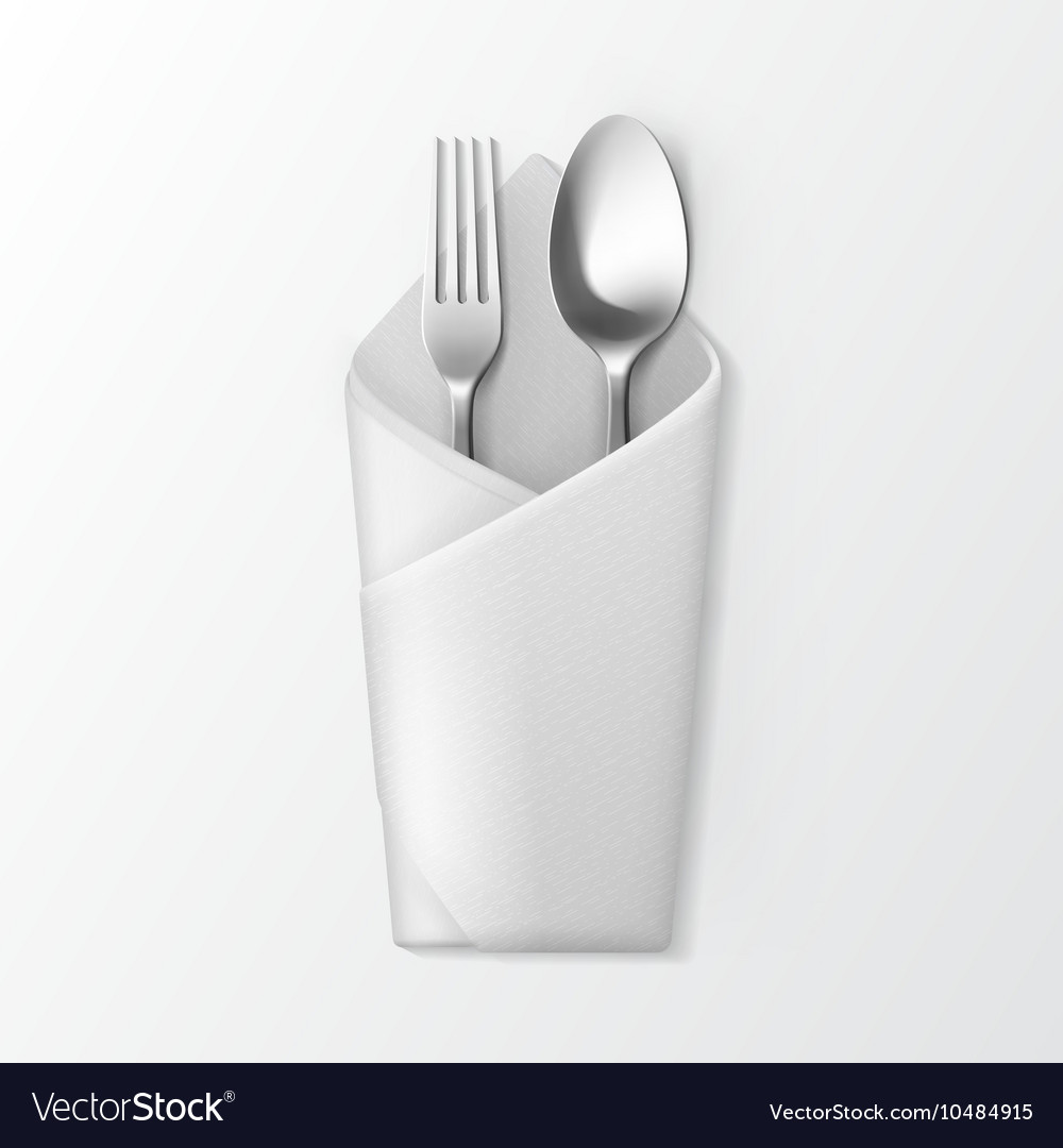 Folded Envelope Napkin With Silver Fork And Spoon Vector Image