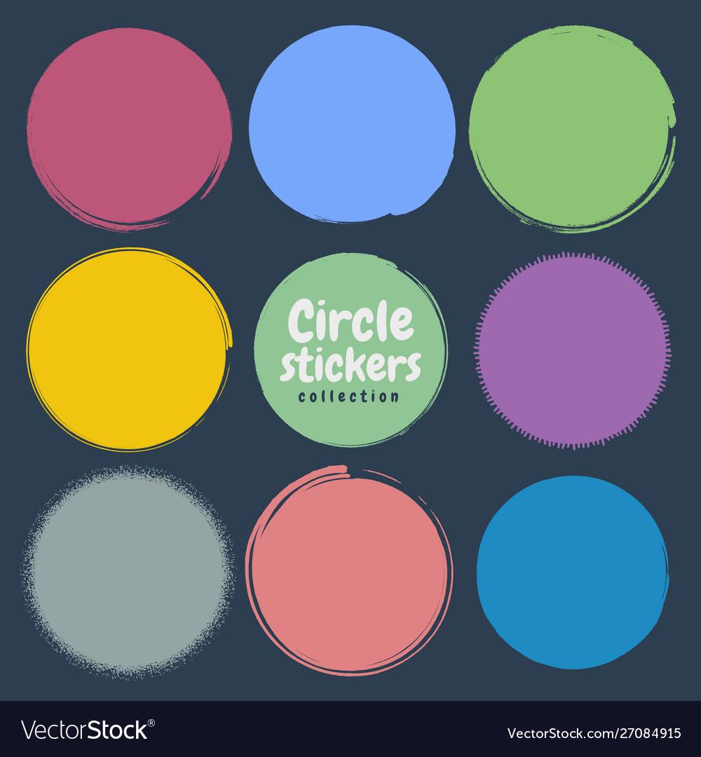 Grunge circle set round design elements
