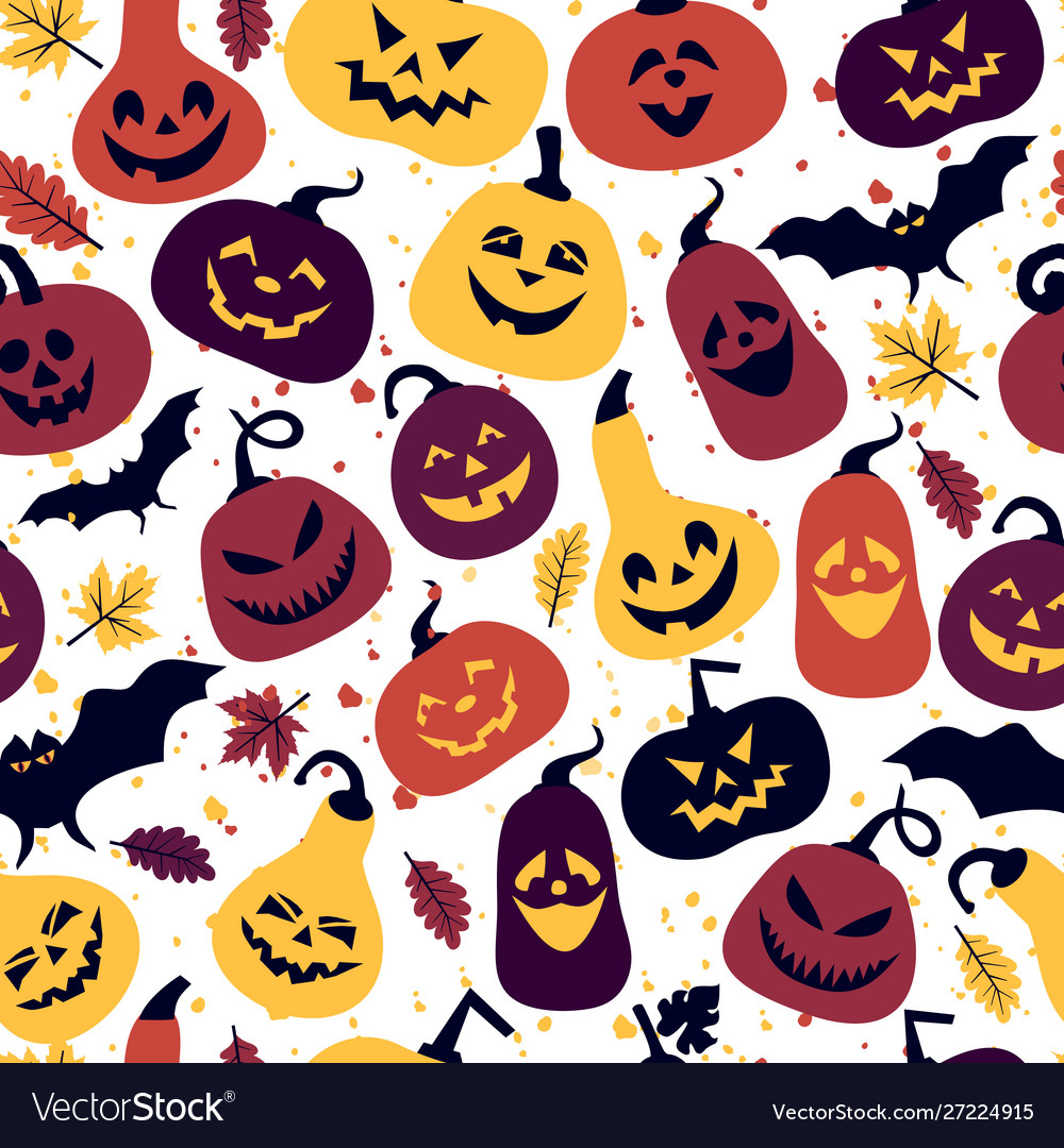 Halloween holiday with different pumpkins