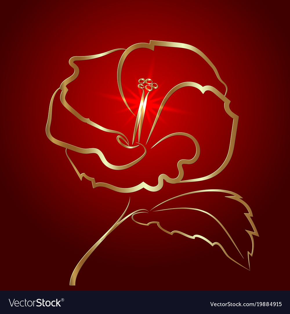 Hibiscus flower sketch gold on red