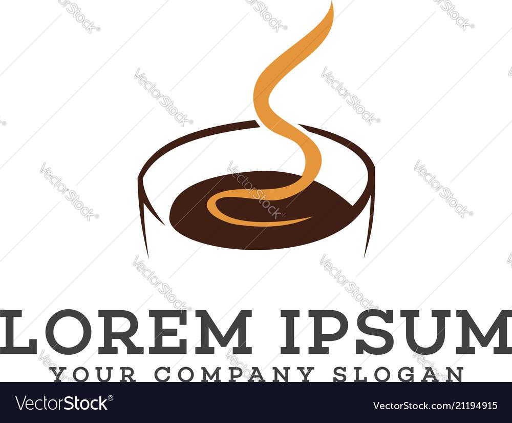 Hot coffee logo design concept template