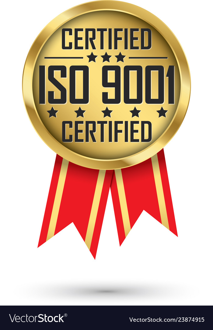 Iso 9001 certified gold label with red ribbon