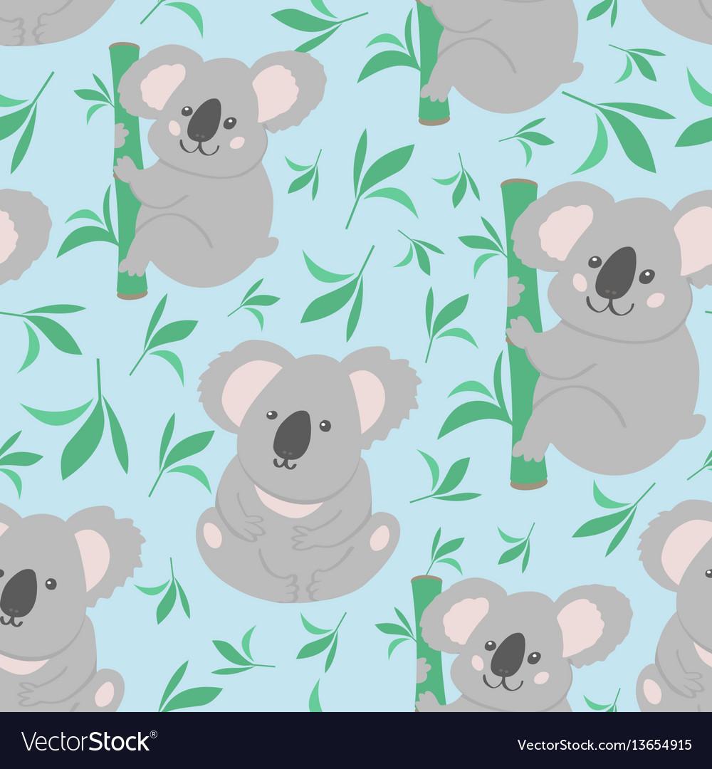 Koala doodle seamless pattern background