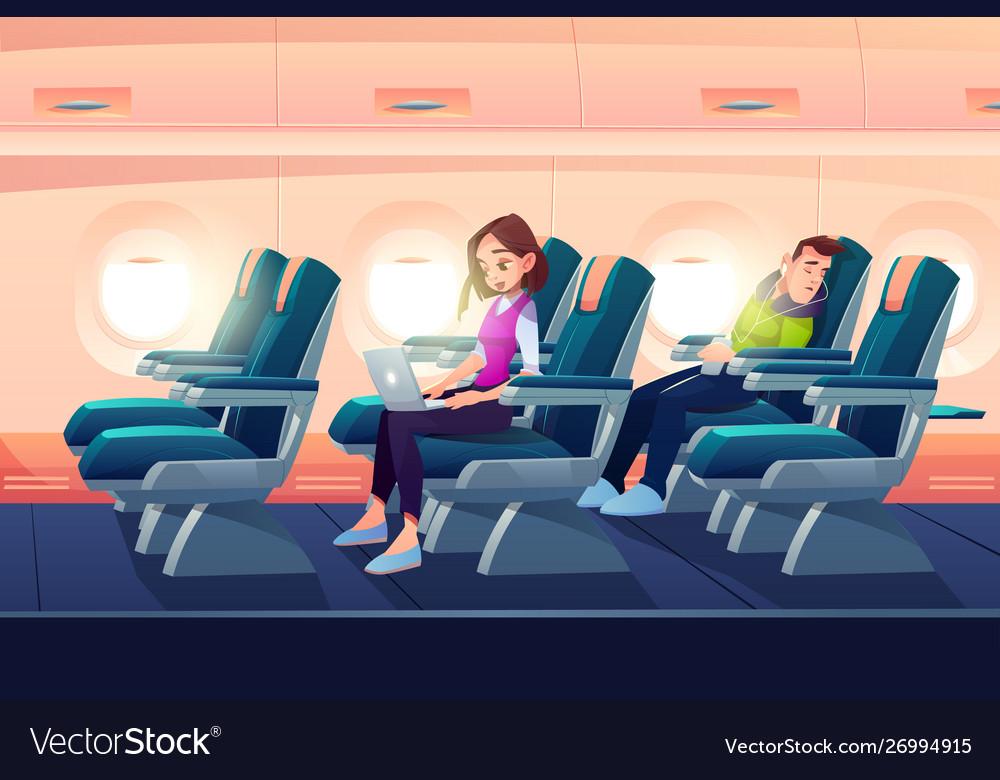 Man sleep in airplane freelancer girl work laptop
