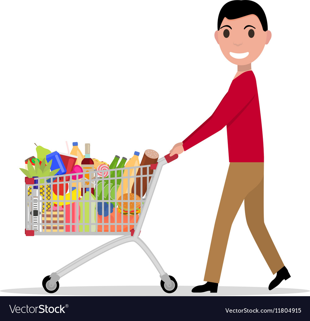 Man with shopping trolley full groceries