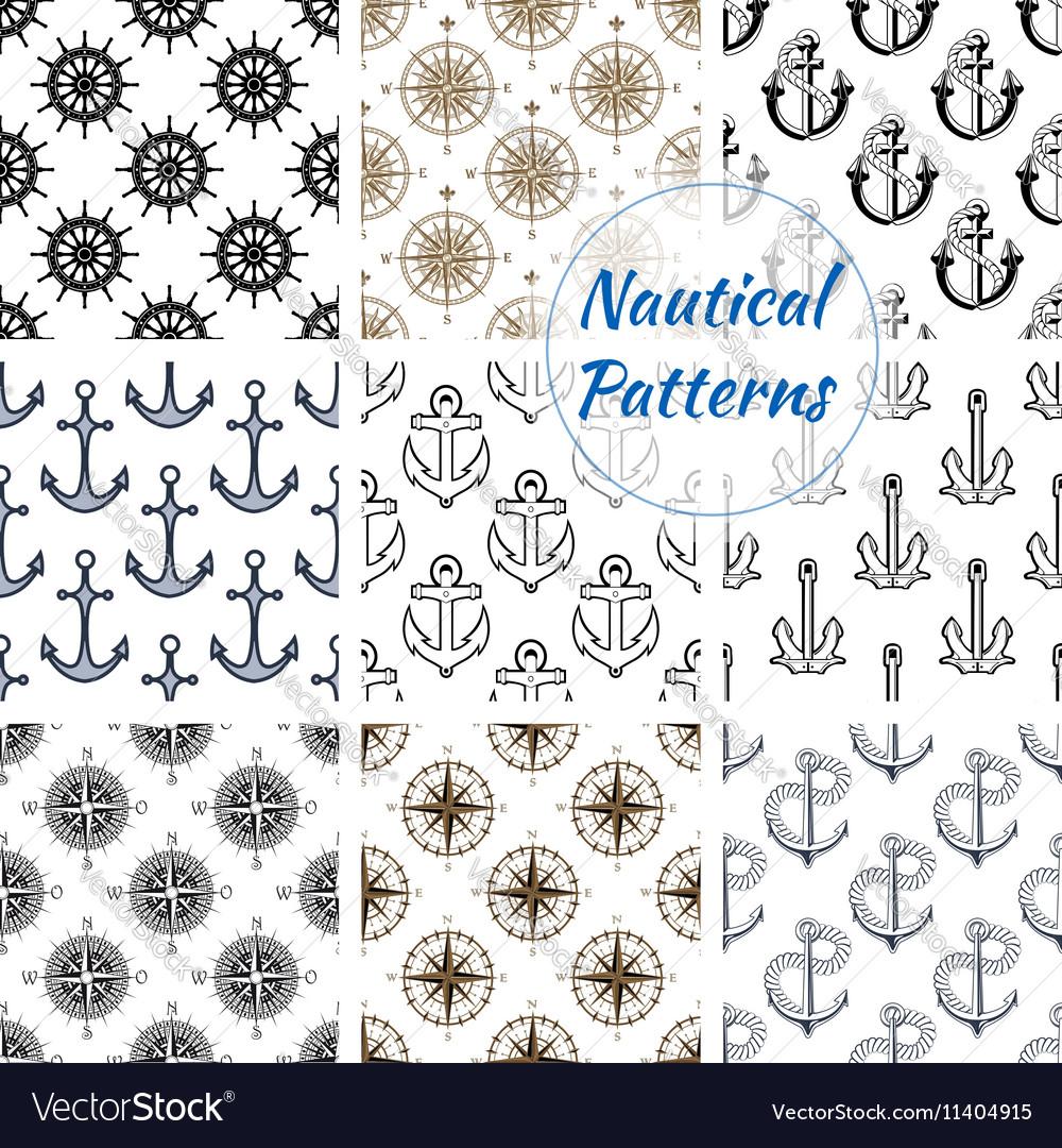 Nautical anchor wheel seamless patterns set