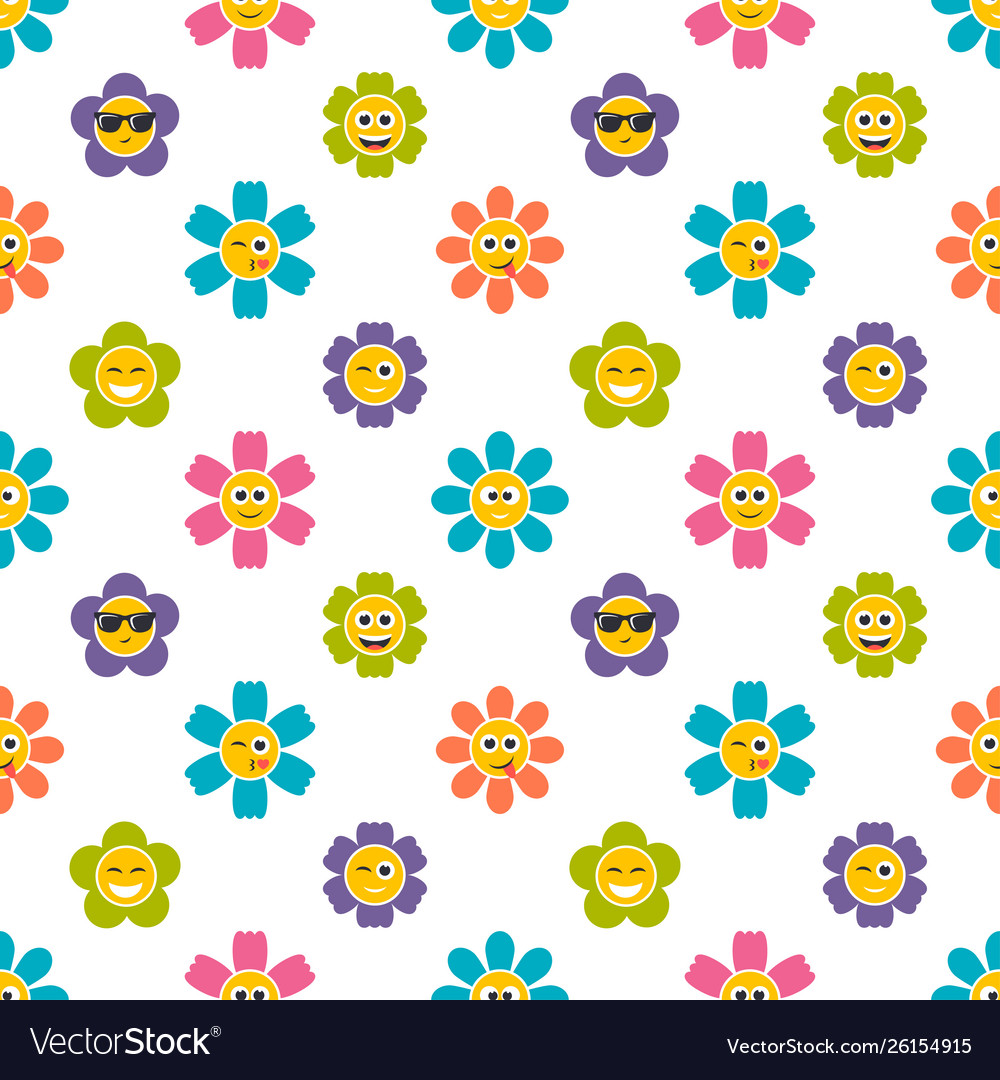 Seamless pattern with colorful flowers with faces