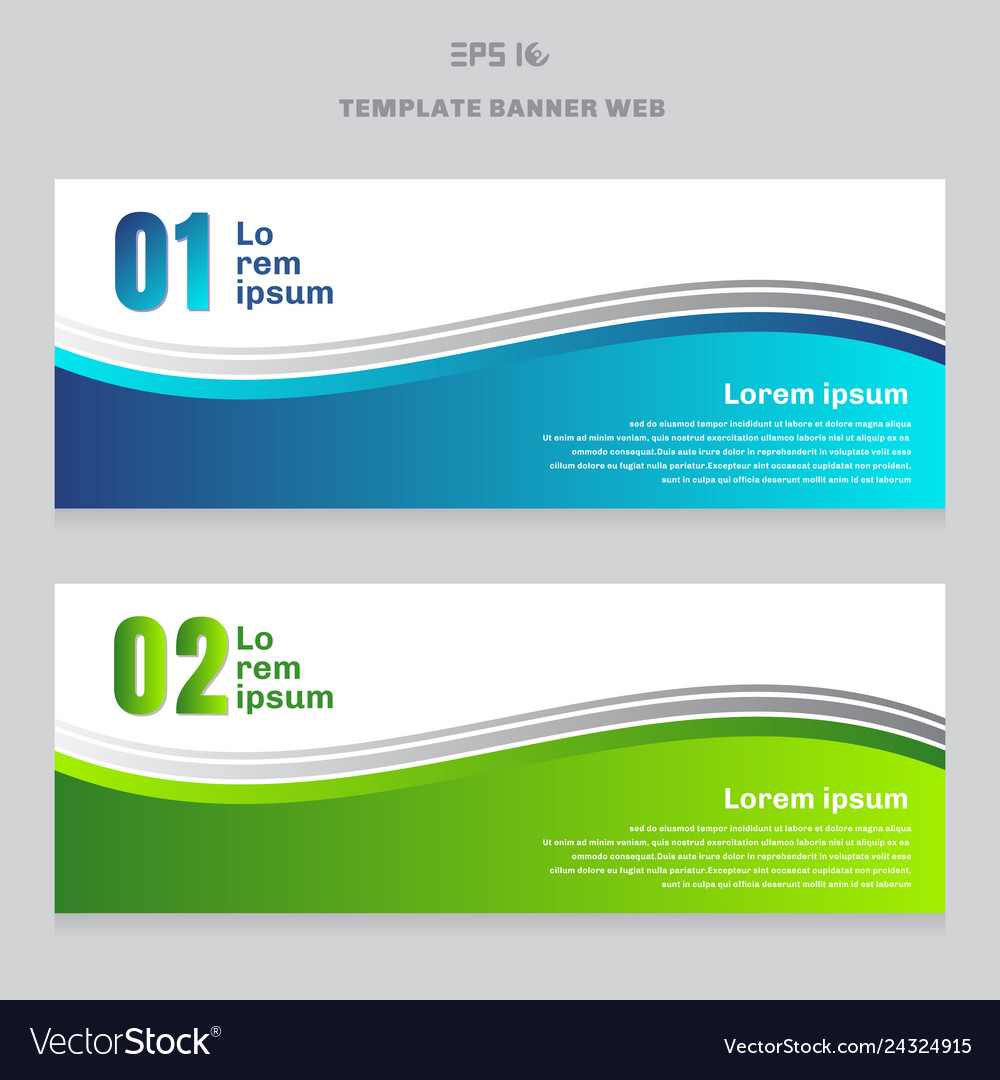 Set of abstract banner web design template blue