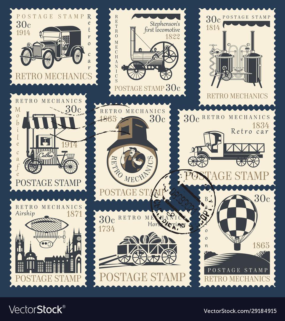 Set postage stamps on theme retro