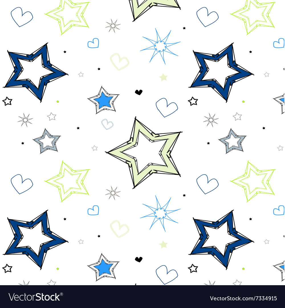 Stars hearts blue green kids pattern