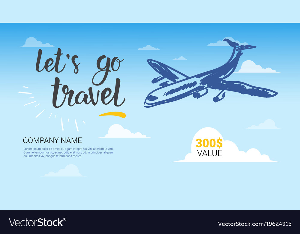 travel company template banner airplane flying in vector image