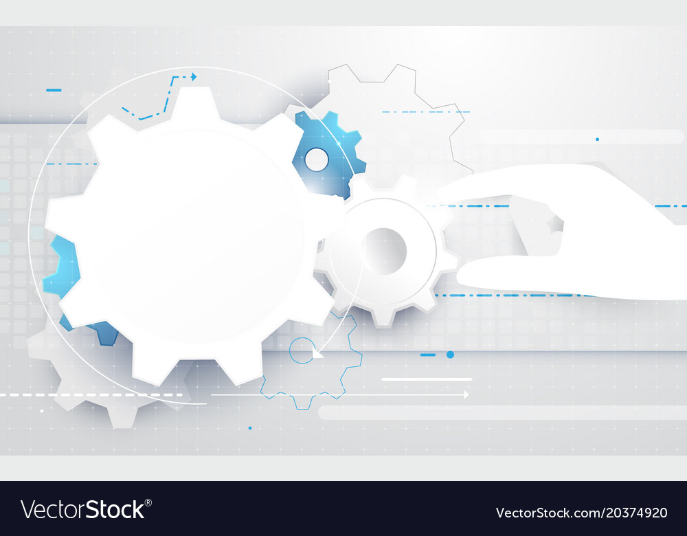 Abstract hand holding gear wheel background