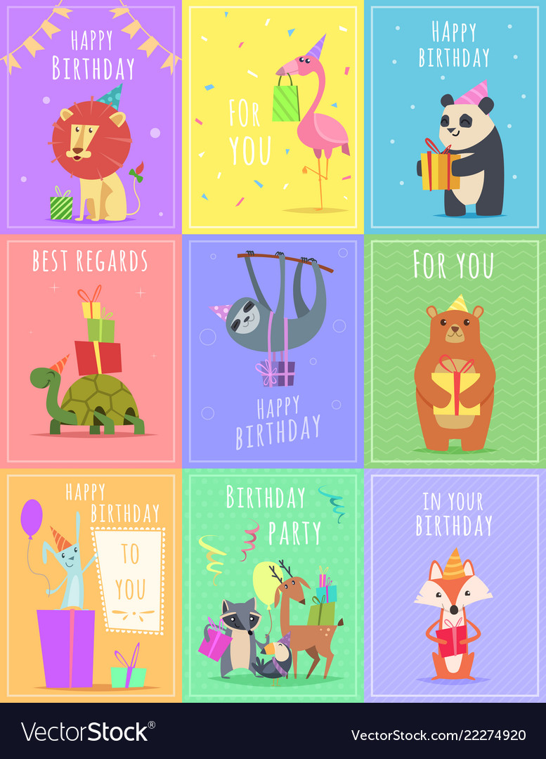Birthday Cards With Animals Wildlife Zebra Turtle Vector Image