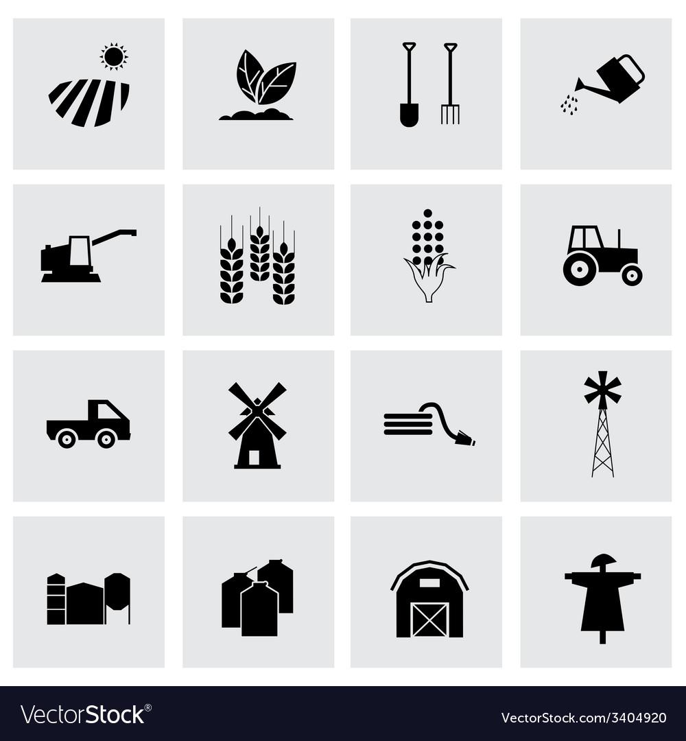 Black farming icons set