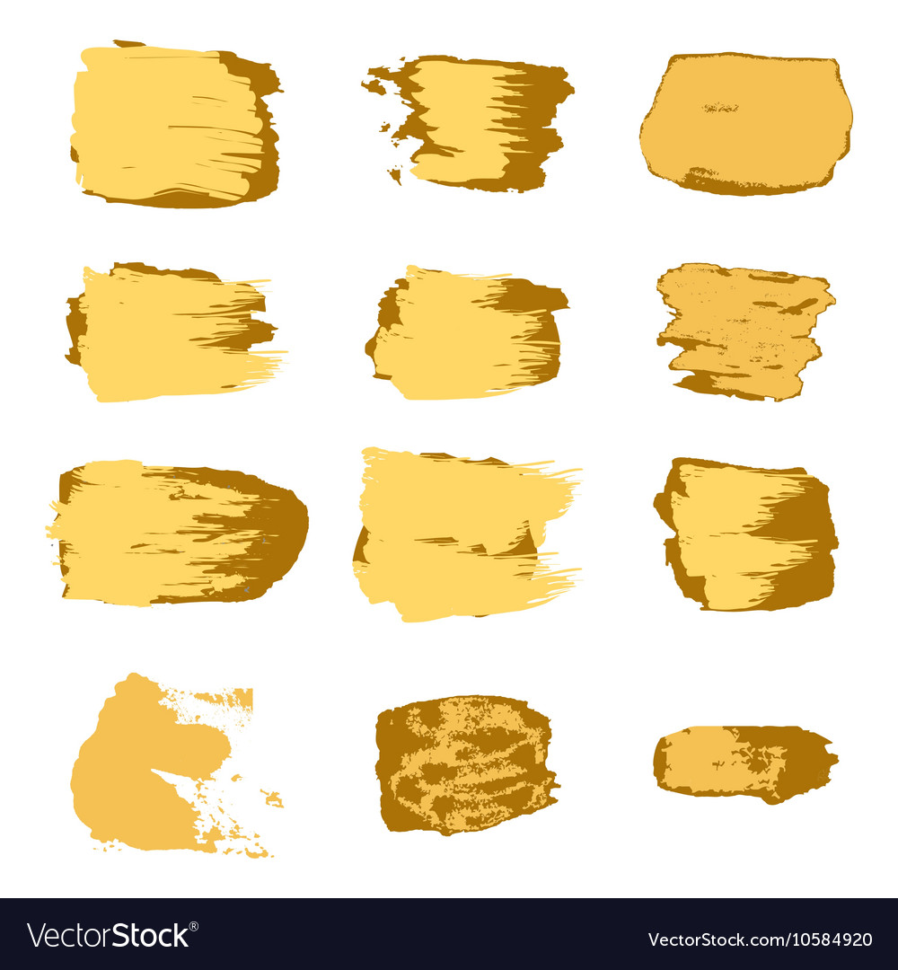 Brush stroke gold paint abstract white background