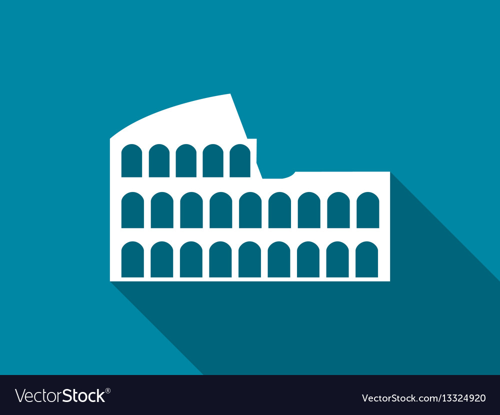 Coliseum with a long shadow flat icon
