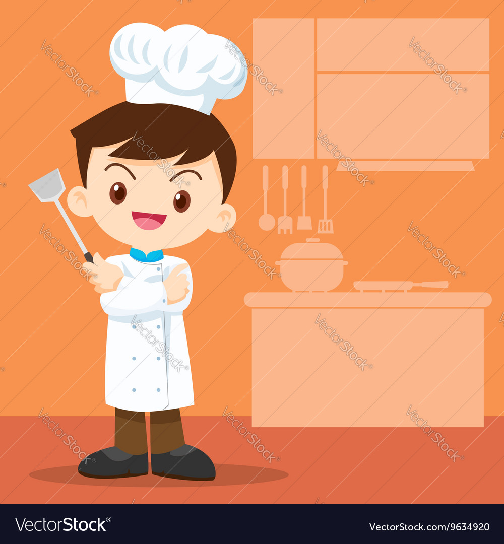 Cute boy Chef look smart