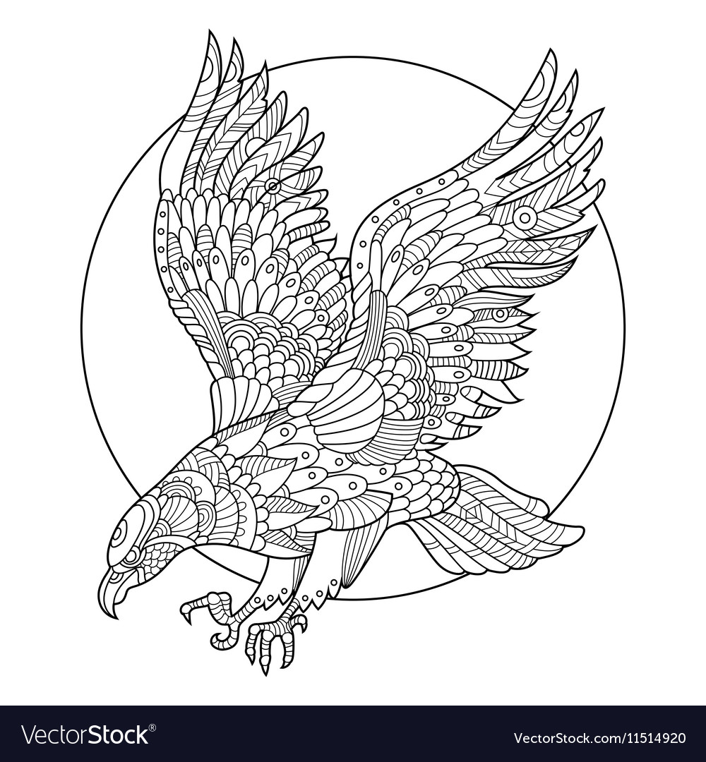Eagle Bird Coloring Book For Adults Vector Image