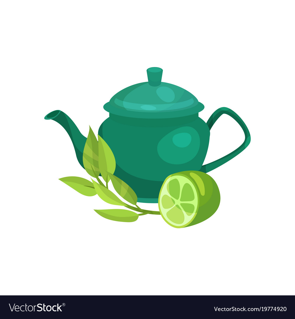 Green ceramic teapot lime fruit and a sprig of
