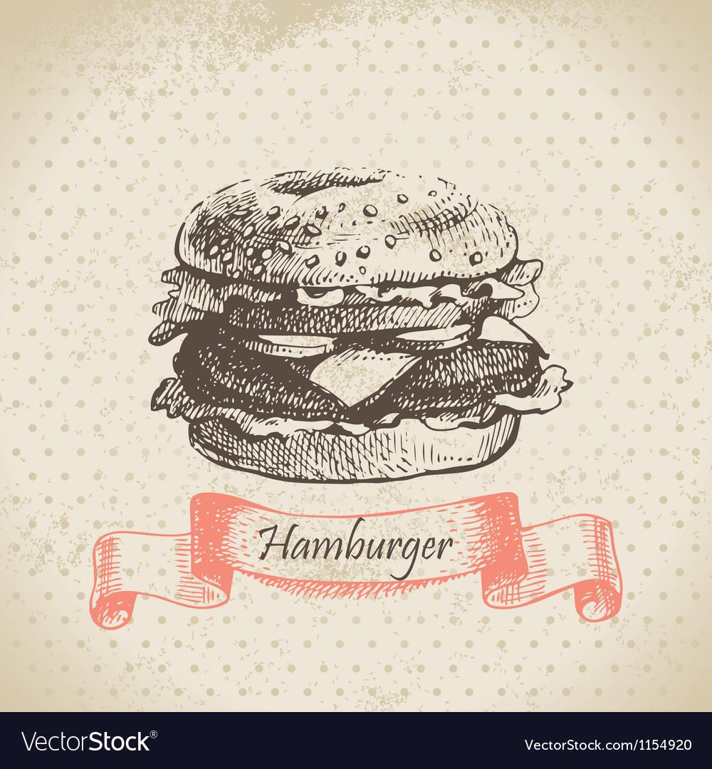 Hamburger hand drawn background vector image