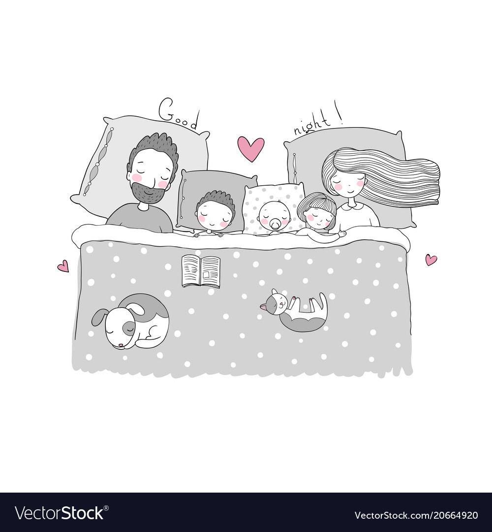 Mom dad and children sweet dreams