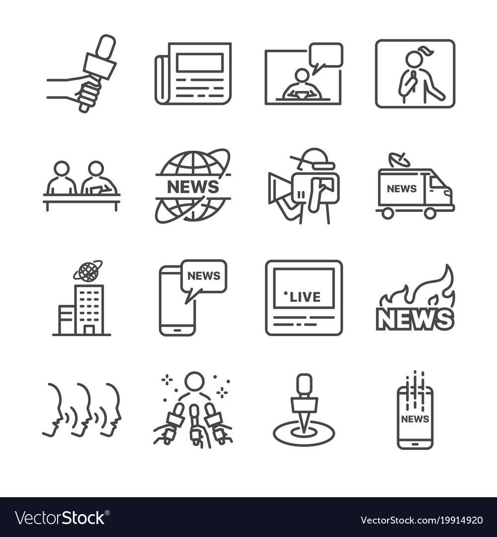 News line icon set
