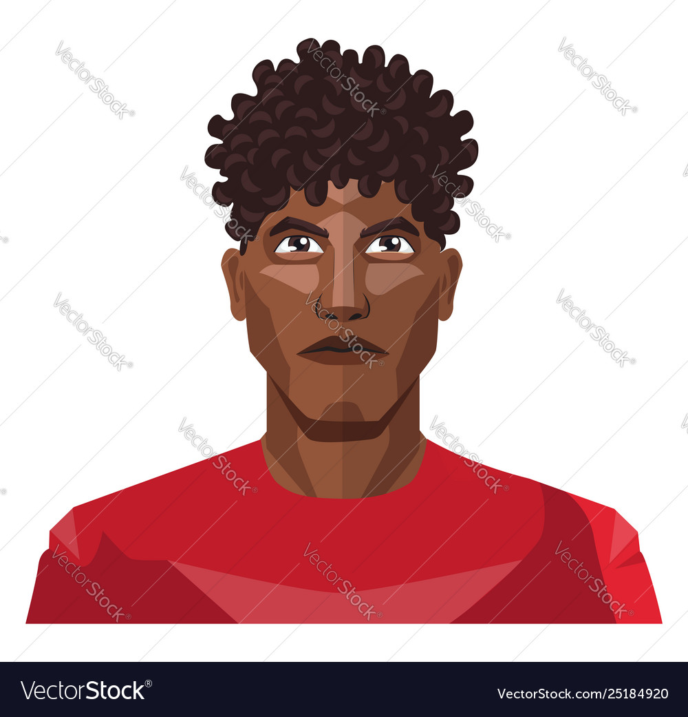 Pretty Guy Wearing A Red Shirt And Curly Hair On Vector Image