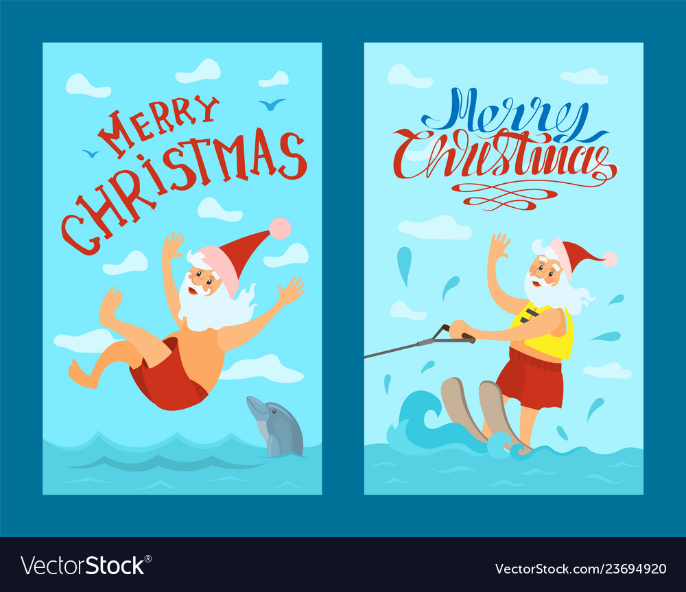 Santa claus riding water skies red hat new year