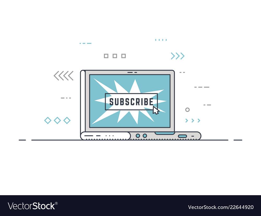 Subscribe button laptop concept
