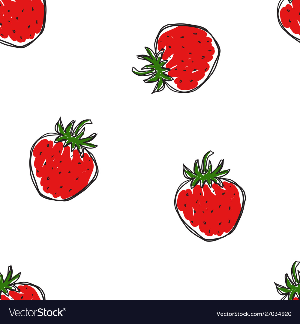 The pattern hand draw strawberries