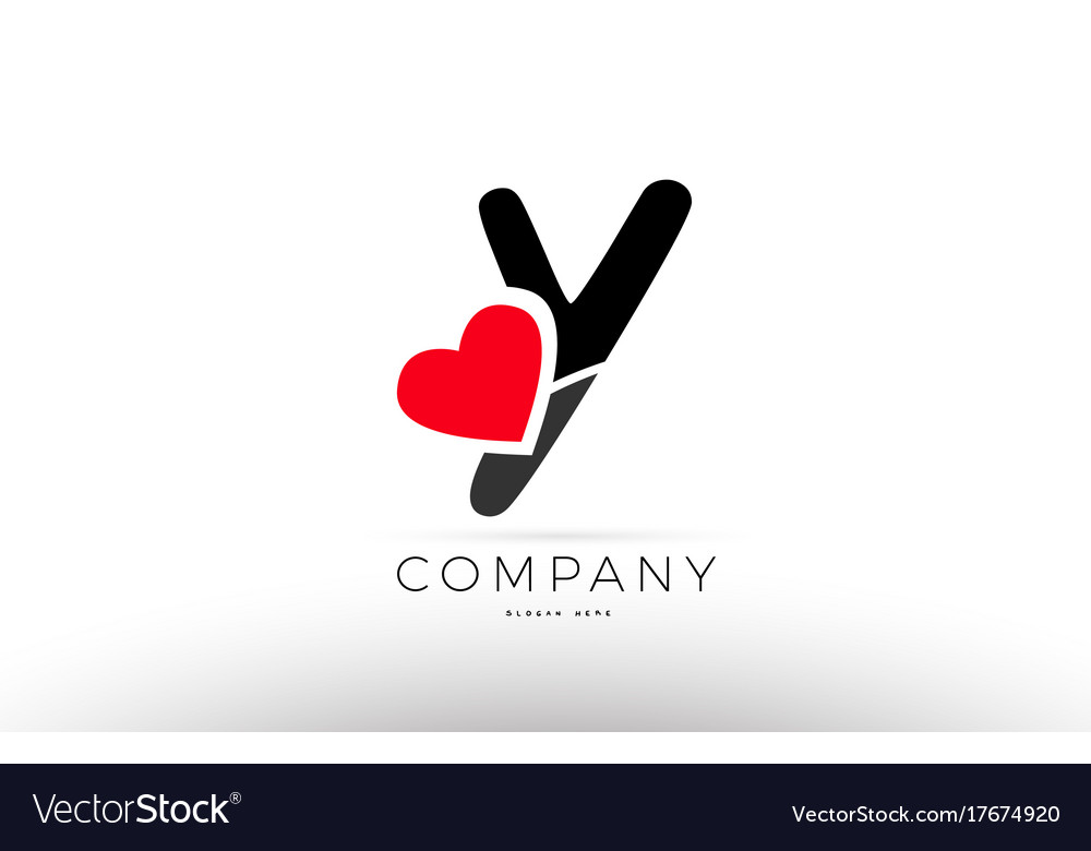 Y alphabet letter logo icon with love heart