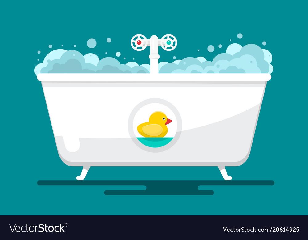 Bath bathtube with duck flat design bathroom Vector Image