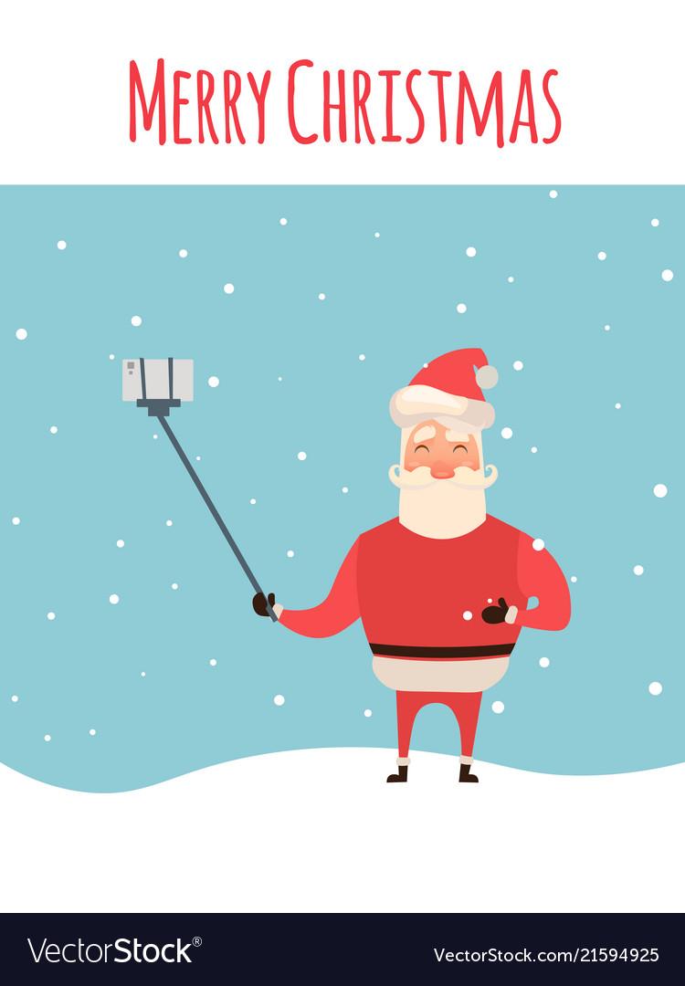 Cartoon style santa claus making selfie christmas