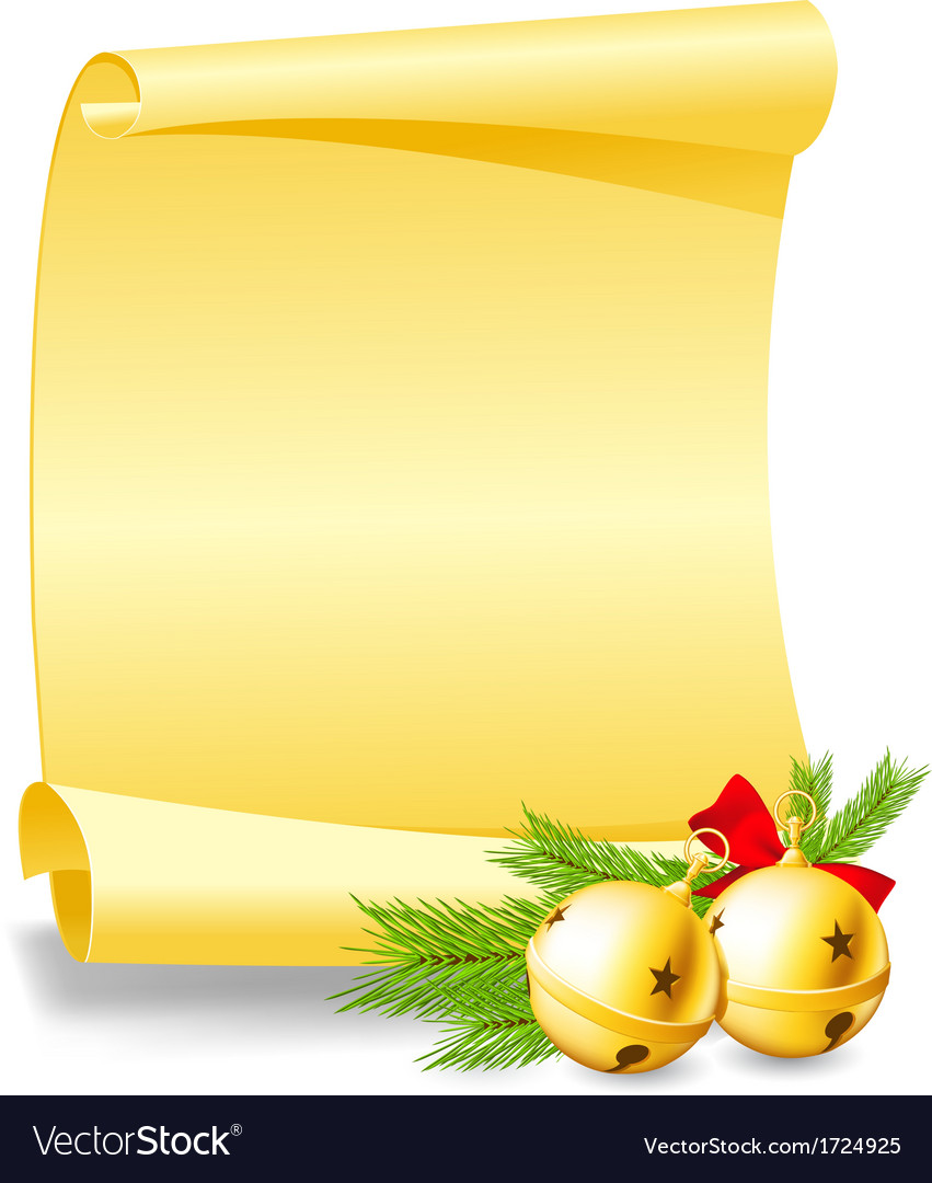 Christmas card - paper scroll wishlist with bells