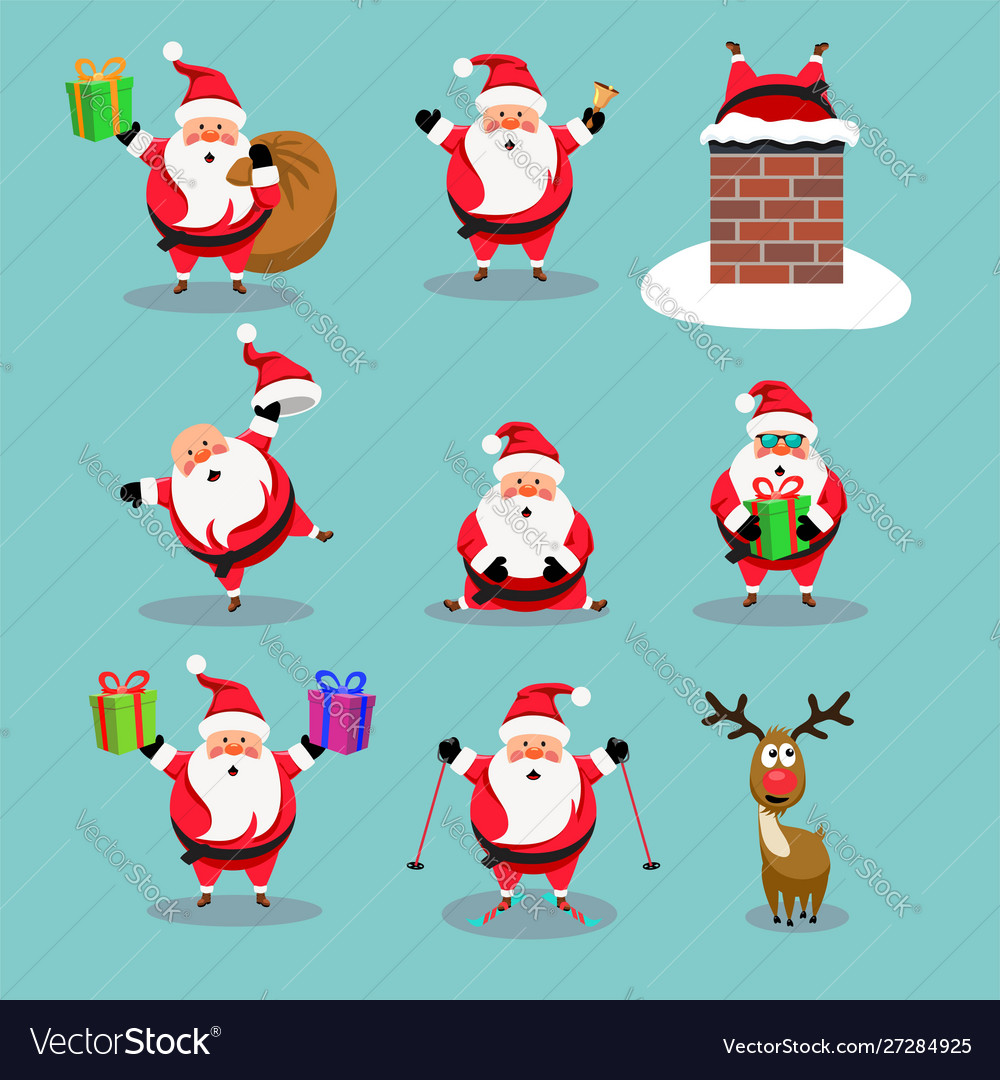 Christmas collection cute cartoons santa
